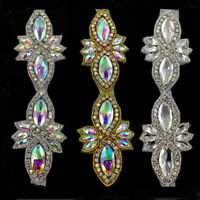 1Yd Bridal Crystal Rhinestone Appliques Sew/ Iron on Trims Costume Dress Decor