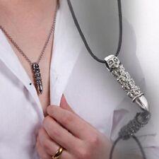 Mens Womens Black Silver Stainless Steel Skull Bullet Biker Goth Pendant & chain