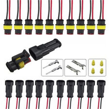 5x 2Pin Car Waterproof Electrical Connector Plug With Wire AWG Marine Black ZPZY