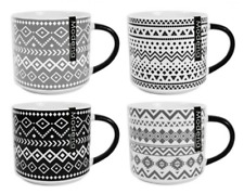 Set of 4 Extra Large Bone China Mugs Stackable Geometric Print Black & Grey