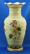 "14"" tall Ceramic Vase Flower Name Theme Floral Botanist Ruffled Top NICE!"