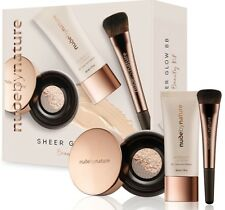 BNIB NUDE BY NATURE SHEER GLOW BB BEAUTY KIT # 03 NUDE BEIGE BRUSH VEIL CREAM