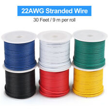 30ft/Roll Electrical Wire 22 Gauge Stranded Core 22awg Copper Cable Tinned 6Roll