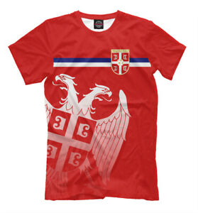 Serbia red t-shirt national emblem flag coat of arms