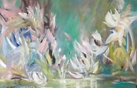 Large Original Contemporary Modern Fine Art Abstract Floral Painting Signed