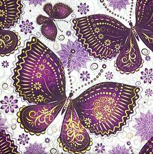 M560# Bulk-0,85 $ /pc! 3 x Single Paper Napkins For Decoupage Purple Butterflies
