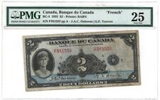 Bank of Canada BC-4 1935 $2 FRENCH TEXT PMG 25