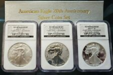 2006 P W W 20TH ANNIVERSARY SILVER EAGLE SET, NGC MS69 REV PF69 & PF69UC OMP COA