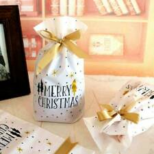 10Pcs Christmas Plastic Gift Bags Cookies Candy Packaging New Year Decoration S8