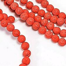 Lava Beads 8mm Coral x 47 Pieces