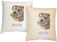 More details for norfolk terrier breed of dog h cotton cushion cover - cream or white - gift item