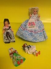 FOUR Vintage NATIONAL COSTUME DOLLS - JOB LOT EUROPE 1970's - GREECE LUXEMBOURG