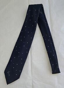 GIVENCHY MONSIEUR Silk Blend Navy Embroidered Polka Dot Necktie