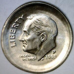 2000 Error HUGE BROADSTRUCK Multi Strike Roosevelt Dime NICE GEM BU BS Coin  NR