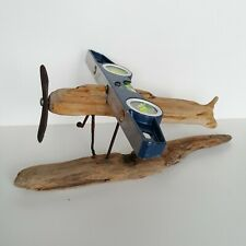 Handmade Driftwood Airplane Sculpture Ornament Rustic Gift Art Home Decor Unique