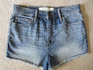 WOMENS ABERCROMBIE & FITCH THE A&F NATURAL WAIST BLUE DENIM JEAN SHORTS SIZE 8