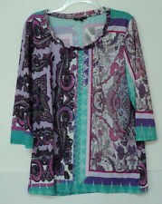size XL Kiara knit TOP purple green paisley
