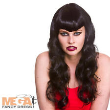 Black Glamorous Vampire Wig Ladies Fancy Dress Halloween Vampiress Costume Acc