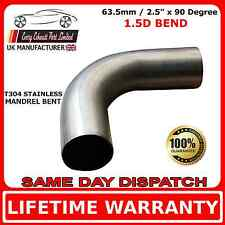 "63mm 2.5"" x 90 Degree Mandrel Exhaust Bend T304 Stainless Steel 1.5D 1.5mm Wall"