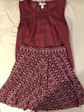 Ann Taylor Loft Plum Sleeveless Blouse W/ Skirt Set Women's Petite S