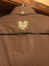 English Laundry Peoples Army Brown Print  Embroidered Button Down Shirt M Nice!