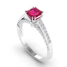Natural Gemstone Cushion Cut 0.81 Ct Real Natural Ruby Ring 14K White Gold Rings