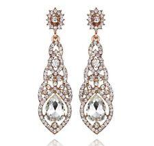 Nice Clear Austrian Crystal Rhinestone Chandelier Dangle Earring E115R Rose Gold