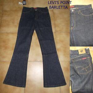Jeans Indian Rose A Zampa D'elefante Svasato Blu Scuro Tg W 27-28-31-32-33