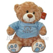 It's a Boy 25cm Golden Brown Teddy Bear with Blue Jacket, Newborn Baby Gift