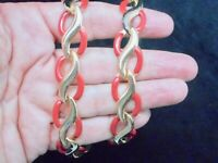 Vintage 1980's Gold Tone Red Enamel Classic Necklace