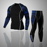 Men Sport Tracksuit Thermal Underwear Set Gym Clothes compress Warm Sets Pants