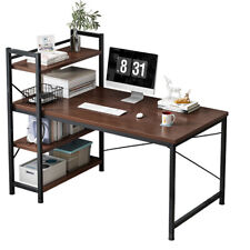 Wood Computer Desk Modern Desk Home Office Study Table With 4 Tier Book Shelves