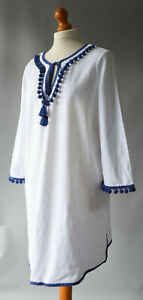 Ladies Boden White & Navy Blue Cotton Pom Pom Tassel Kaftan Tunic Dress UK 18