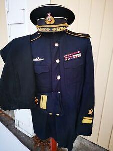 Konteradmiral 1940 1950 Metallfaden gestickt Mütze Stehkragen Uniform Original