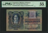 Yugoslavia Stamp on Austria 20 Kronen 1913 PMG AU 55