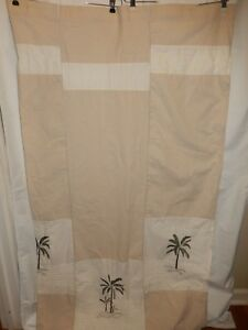 Croscill FIJI Cream Tan Green Embroidered Palm Tree Single Panel Shower Curtain