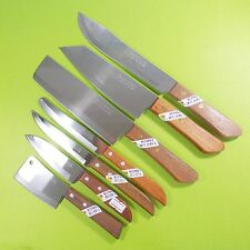 Thai Chef's Knife Cook Knives Set 7 pcs KIWI Wood Handle Kitchen Blade Stainless
