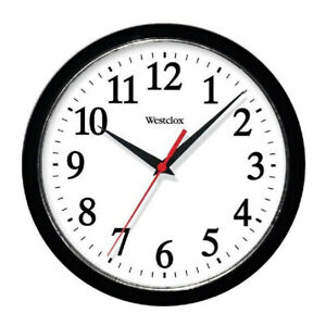 Westclox Ventura Wall Clock Analog 10 in Black Case White Dial 461861 New, Black