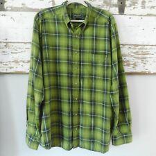 Eddie Bauer Men's XLT Tall Green Plaid Flannel Long Sleeve Button-Down Shirt EUC