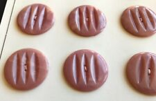 "Vintage Buttons - 12 Rose Pink Casein 2-hole 1"" Ridged Buttons - United Kingdom"