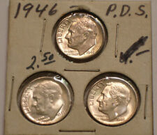 New listing 1946 P, 1946 D & 1946 S Roosevelt Dimes original Gem Bu