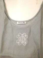 Christian Dior Swing Tank Top Seafoam 100% Linen Vtg 80s Embroidered Logo B 36""