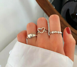 925 Sterling Silver Plt Vintage Heart Adjustable Ring Women Girls Jewellery Gift