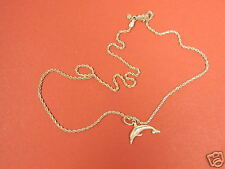 "14k Yellow Gold Rope Chain 16"" With Dolphin 4.4 Grams Free Shipping"
