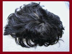 "Men's Full Swiss Lace Human Hair System Toupee 110 Black  W/ 10% Grey 8"" X 10"""