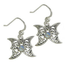 Sterling Silver Moon Phase Butterfly Earrings Moonstone fairy faerie jewelry