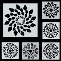 6Pcs/Set Mandala Painting Dotting Stencils Template Wood Airbrush Walls Tools