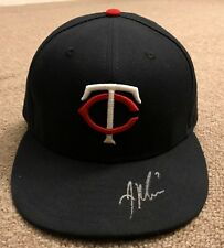 Joe Mauer MLB Holo Game Used Autographed Hat Cap 2015 Minnesota Twins