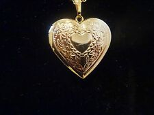 UK - 18 Carat Gold Plated Opening Heart Locket Necklace Friendship  024