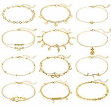 Gold Ankle Bracelets Set (A:12Pcs Gold) Funeia 12Pcs Anklets for Women Silver